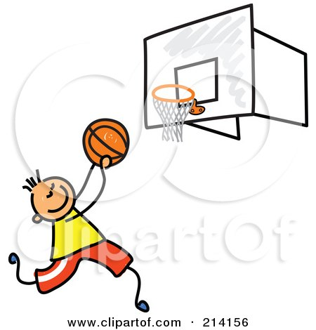 Royalty-Free (RF) Clipart Illustration of a Childs Sketch Of A Boy Playing Basketball by Prawny