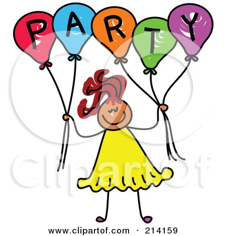 Royalty-Free (RF) Clipart Illustration of a Childs Sketch Of A Girl Holding Balloons Spelling Party by Prawny