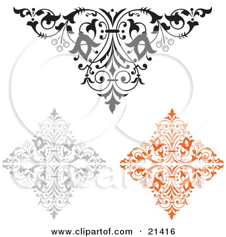 Clipart Illustration of a Collection Of Three Ornamental Elements, One Black And White, One Gray And One Orange by Paulo Resende