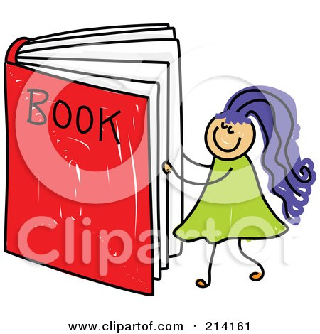 Royalty-Free (RF) Clipart Illustration of a Childs Sketch Of A Girl Reading A Giant Book by Prawny