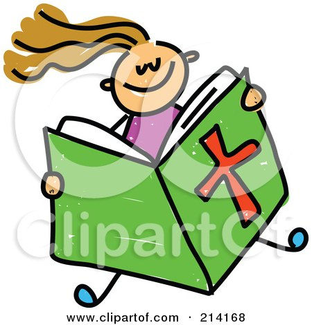 Royalty-Free (RF) Clipart Illustration of a Childs Sketch Of A Girl Reading A Bible by Prawny