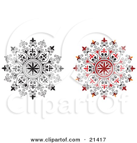 Clipart Illustration of a Two Ornamental Circular Designs With Floral Accents, One Red, One In Black And White, Over A White Background by Paulo Resende