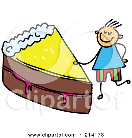 Royalty-Free (RF) Clipart Illustration of a Childs Sketch Of A Boy With A Slice Of Cake by Prawny
