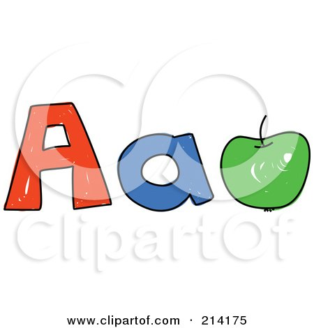 Royalty-Free (RF) Clipart Illustration of a Childs Sketch Of Childs Sketch Of Capital And Lowercase Letter A's And An Apple by Prawny