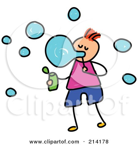 Royalty-Free (RF) Clipart Illustration of a Childs Sketch Of A Boy Blowing Bubbles by Prawny