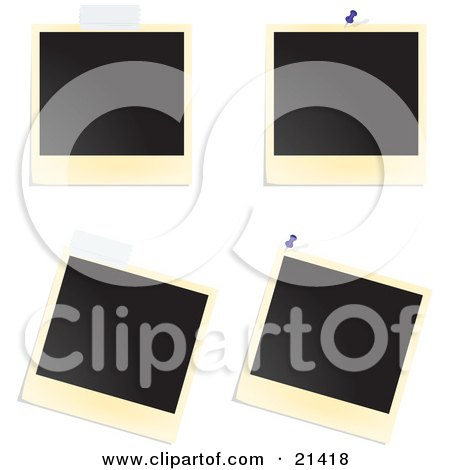 Clipart Illustration of Four Blank Polaroid Pictures With Tape And Tacks Over A White Background by Paulo Resende