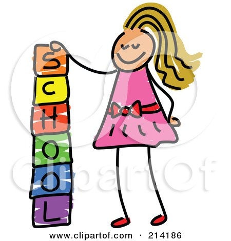 Royalty-Free (RF) Clipart Illustration of a Childs Sketch Of A Girl Stacking School Blocks by Prawny