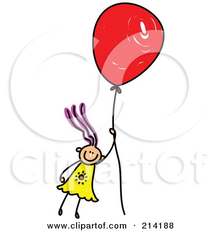 Royalty-Free (RF) Clipart Illustration of a Childs Sketch Of A Girl Floating Away With A Balloon by Prawny