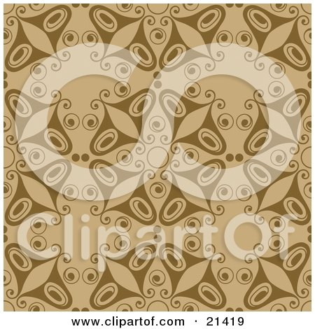 Clipart Illustration of a Brown Background Of Butterflies In A Pattern by Paulo Resende