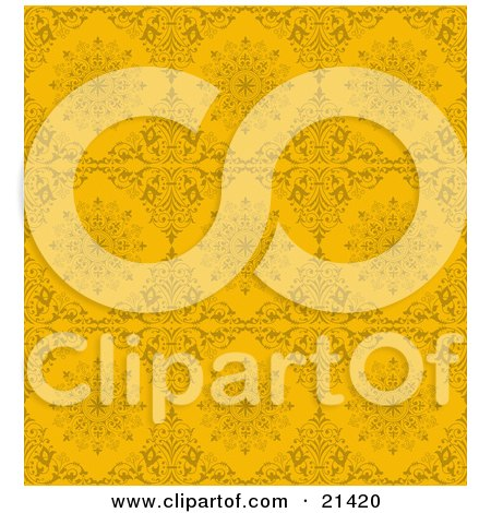 Clipart Illustration of a Background Of Yellow Ornamental Diamd And Circle Shapes by Paulo Resende