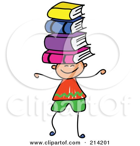 Royalty-Free (RF) Clipart Illustration of a Childs Sketch Of A Boy Balancing Books On His Head by Prawny