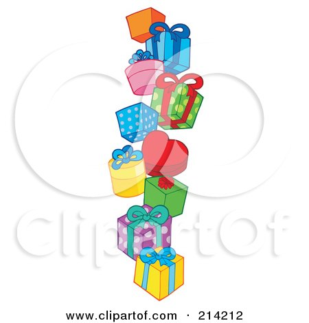 Royalty-Free (RF) Clipart Illustration of a Pile Of Birthday Presents - 1