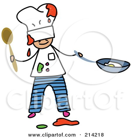 Royalty-Free (RF) Clipart Illustration of a Childs Sketch Of A Messy Chef Boy by Prawny