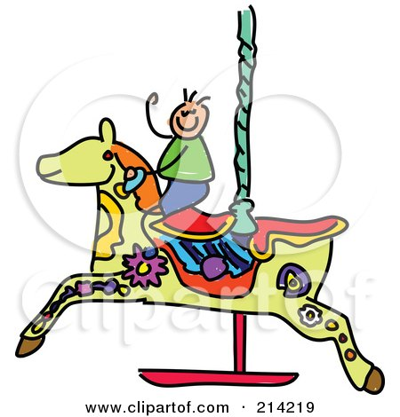 Royalty-Free (RF) Clipart Illustration of a Childs Sketch Of A Boy On A Carousel Horse by Prawny