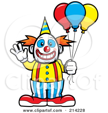 Royalty-Free (RF) Clipart Illustration of a Friendly Waving Circus Clown Holding Balloons by Cory Thoman