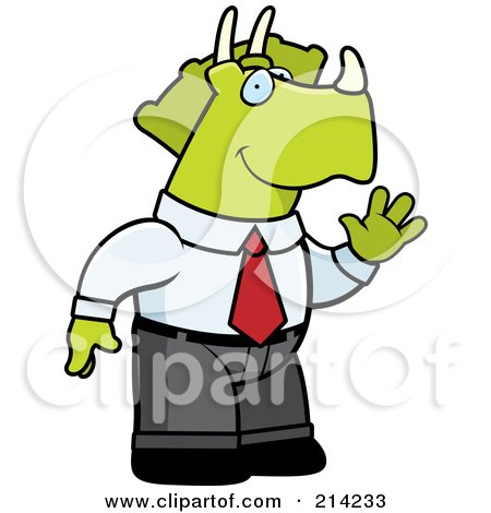 Royalty-Free (RF) Clipart Illustration of a Waving Business Triceratops Dinosaur In A Suit by Cory Thoman