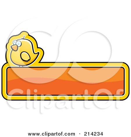 Royalty-Free (RF) Clipart Illustration of a Yellow Bird On A Shiny Orange Sign by Cory Thoman