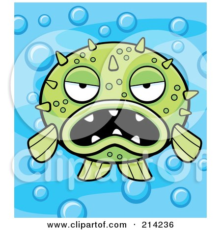 Royalty-Free (RF) Clipart Illustration of a Grumpy Green Blowfish On A Bubbly Blue Background by Cory Thoman
