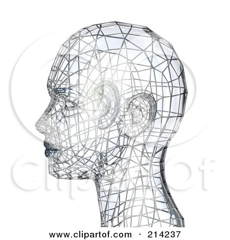 3d Silver Wire Head In Profile Posters, Art Prints