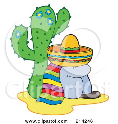 Royalty-Free (RF) Clipart Illustration of a Mexican Man Resting By A Cactus by visekart