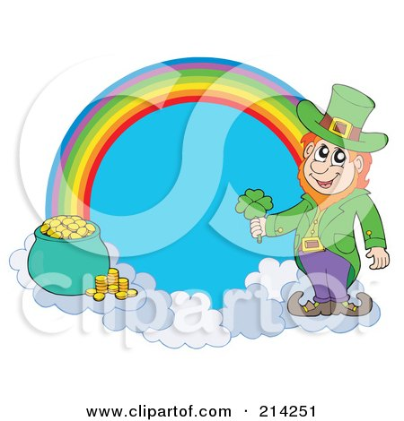 Royalty-Free (RF) Clipart Illustration of a Leprechaun, Pot Of Gold And Rainbow by visekart