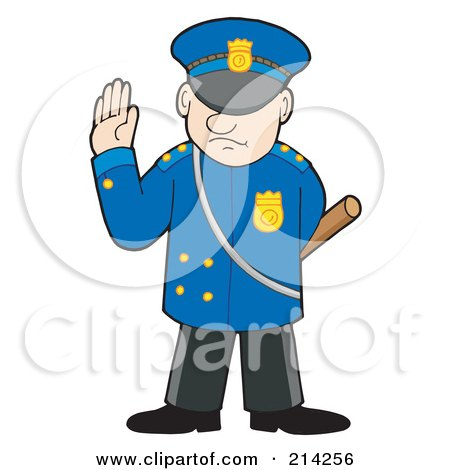 Royalty-Free (RF) Clipart Illustration of a Police Man Gesturing To Stop by visekart