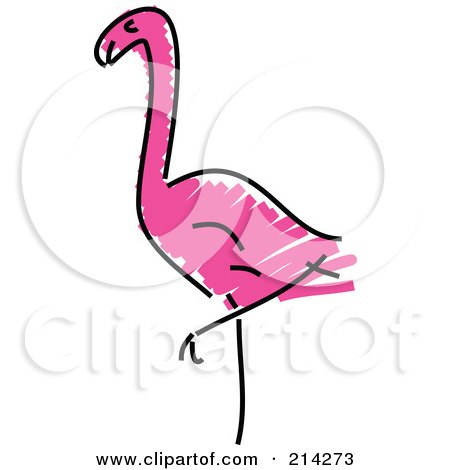 Royalty-Free (RF) Clipart Illustration of a Childs Sketch Of A Pink Flamingo by Prawny
