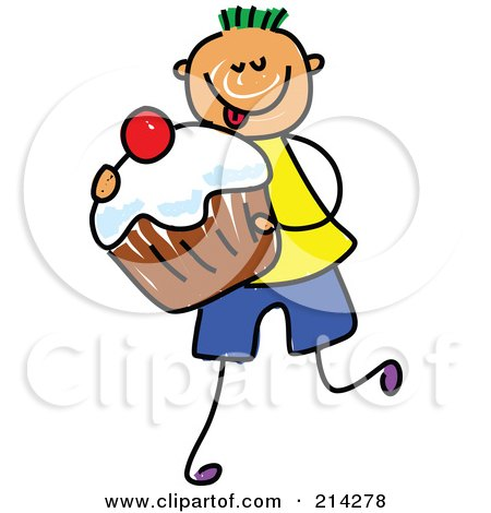 Royalty-Free (RF) Clipart Illustration of a Childs Sketch Of A Boy Carrying A Cupcake by Prawny