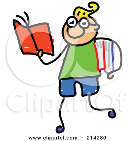 Royalty-Free (RF) Clipart Illustration of a Childs Sketch Of Smart Boy Walking And Reading by Prawny