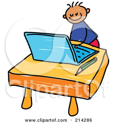 Royalty-Free (RF) Clipart Illustration of a Childs Sketch Of A Boy Using A Laptop by Prawny