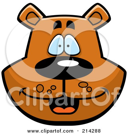 Royalty-Free (RF) Clipart Illustration of a Happy Bear Face by Cory Thoman
