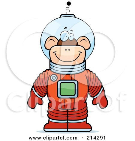 Royalty-Free (RF) Clipart Illustration of a Standing Astronaut Monkey In A Space Suit by Cory Thoman