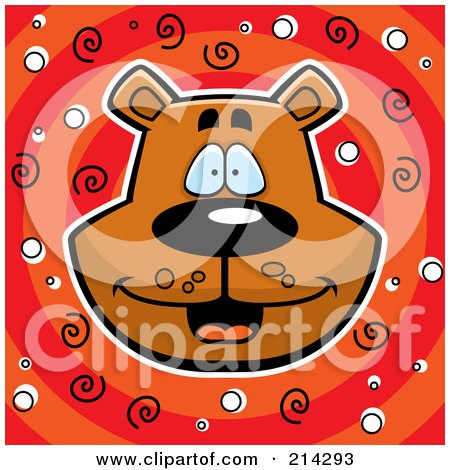 Royalty-Free (RF) Clipart Illustration of a Happy Bear Head Over Red And Orange With Spirals by Cory Thoman