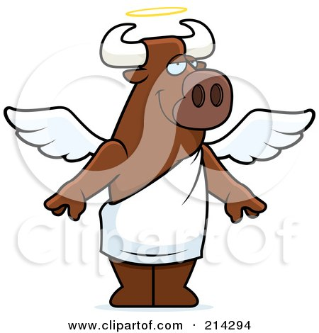 Royalty-Free (RF) Clipart Illustration of a Standing Cartoon Angel Bull by Cory Thoman