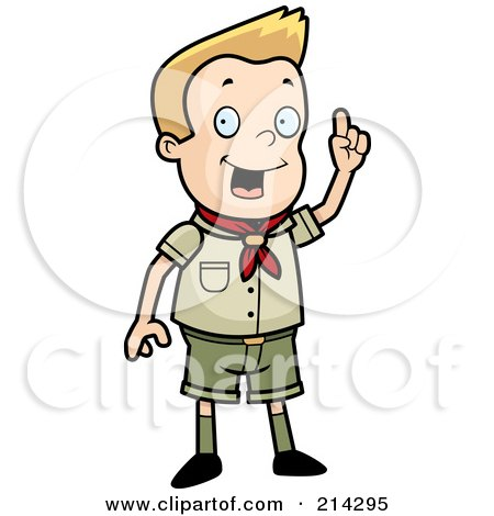 Royalty-Free (RF) Clipart Illustration of a Scout Boy Standing And Holding Up A Finger by Cory Thoman