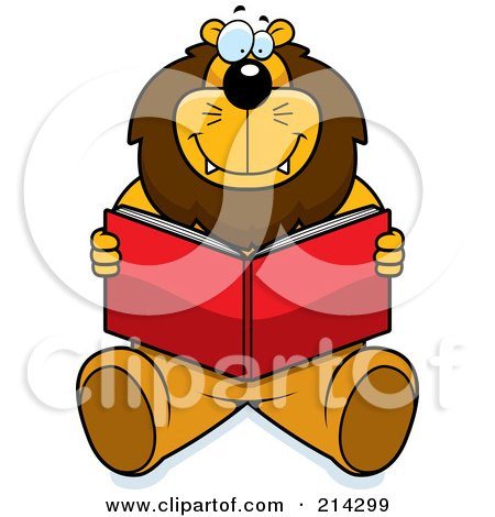 Royalty-Free (RF) Clipart Illustration of a Happy Big Lion Sitting And Reading A Book by Cory Thoman