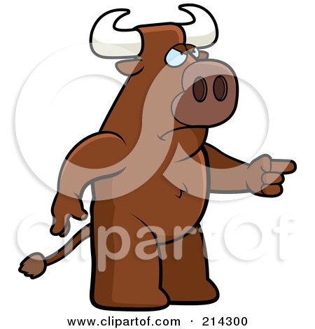 Royalty-Free (RF) Clipart Illustration of an Angry Bull Pointing To The Right by Cory Thoman