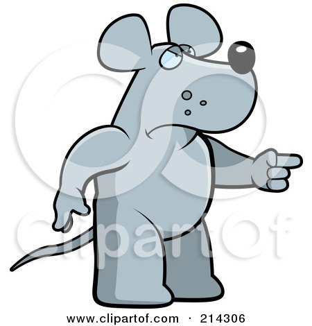 Royalty-Free (RF) Clipart Illustration of an Angry Rat Pointing To The Right by Cory Thoman