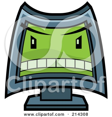 Royalty-Free (RF) Clipart Illustration of a Mean Computer With A Green Evil Face by Cory Thoman