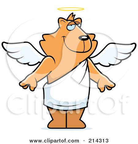 Royalty-Free (RF) Clipart Illustration of a Standing Cartoon Angel Cat by Cory Thoman