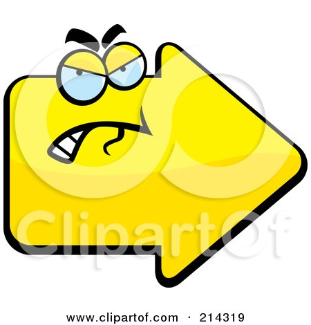 Royalty-Free (RF) Clipart Illustration of a Grouchy Yellow Arrow Character by Cory Thoman