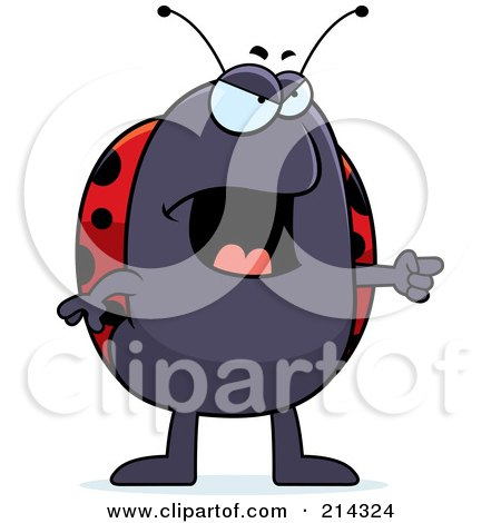 Royalty-Free (RF) Clipart Illustration of an Angry Ladybug Pointing To The Right by Cory Thoman