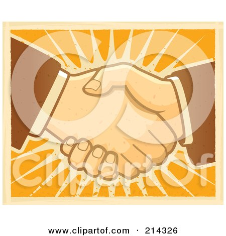 Royalty-Free (RF) Clipart Illustration of Two Hands Shaking Over Orange by Cory Thoman