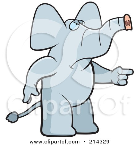 Royalty-Free (RF) Clipart Illustration of an Angry Elephant Pointing To The Right by Cory Thoman