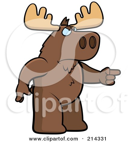 Royalty-Free (RF) Clipart Illustration of an Angry Moose Pointing To The Right by Cory Thoman