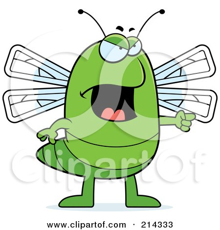 Royalty-Free (RF) Clipart Illustration of an Angry Dragonfly Pointing To The Right by Cory Thoman