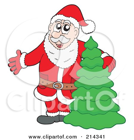 Royalty-Free (RF) Clipart Illustration of Santa Presenting And Standing By A Christmas Tree by visekart