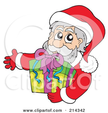 Royalty-Free (RF) Clipart Illustration of Santa Holding A Gift by visekart