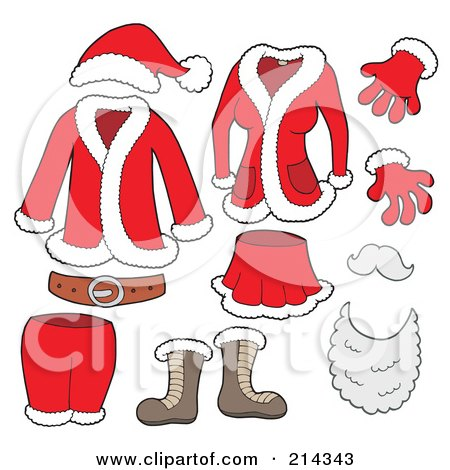 Royalty-Free (RF) Clipart Illustration of a Digital Collage Of Santa Clothes by visekart