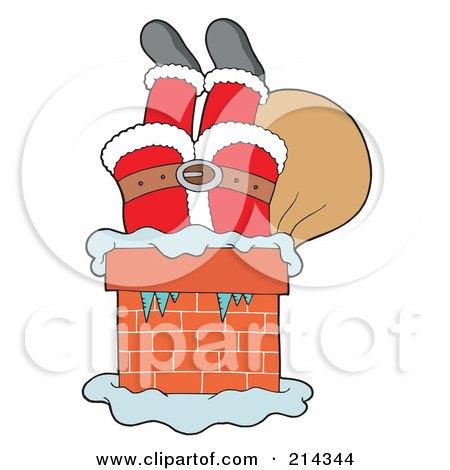 Royalty-Free (RF) Clipart Illustration of Santa Upside Down In A Brick Chimney by visekart